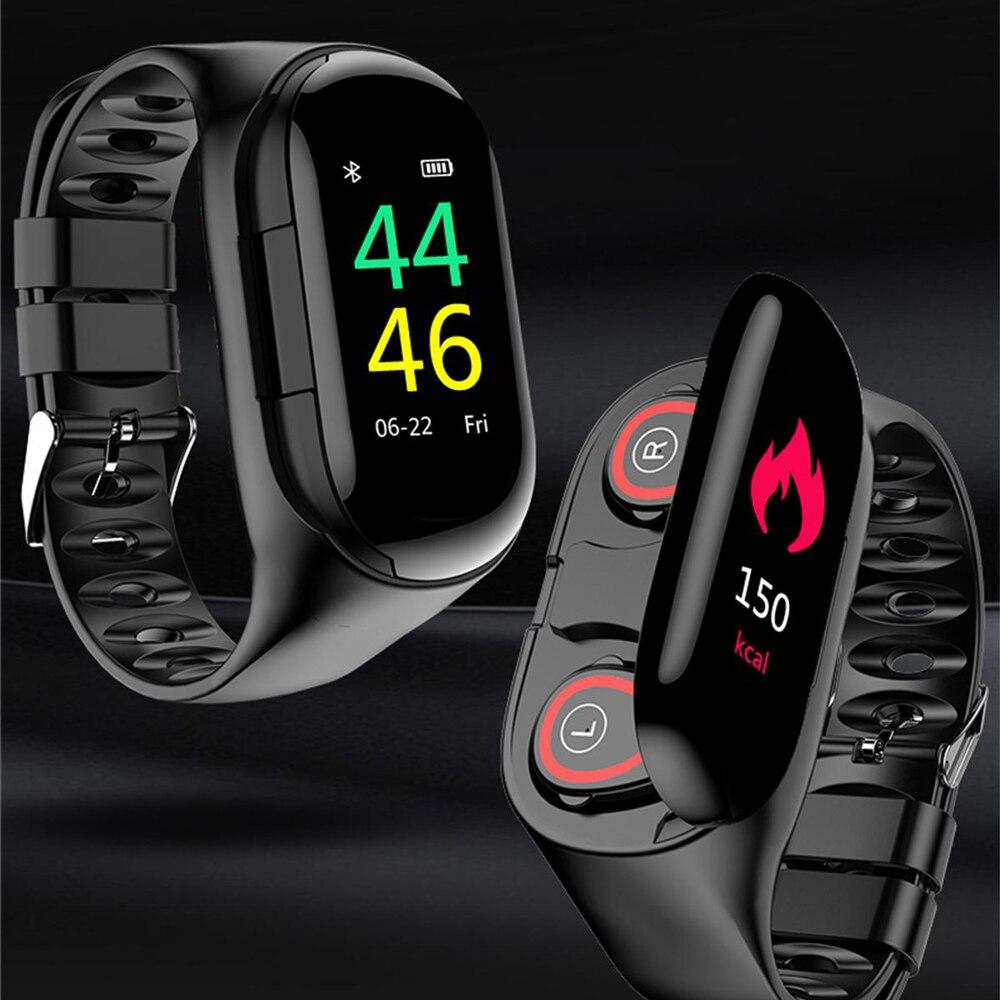 M1 couleur écran intelligent bracelet Bluetooth casque 2 en 1 bracelet sommeil fréquence cardiaque moniteur de pression artérielle avec casque de musique