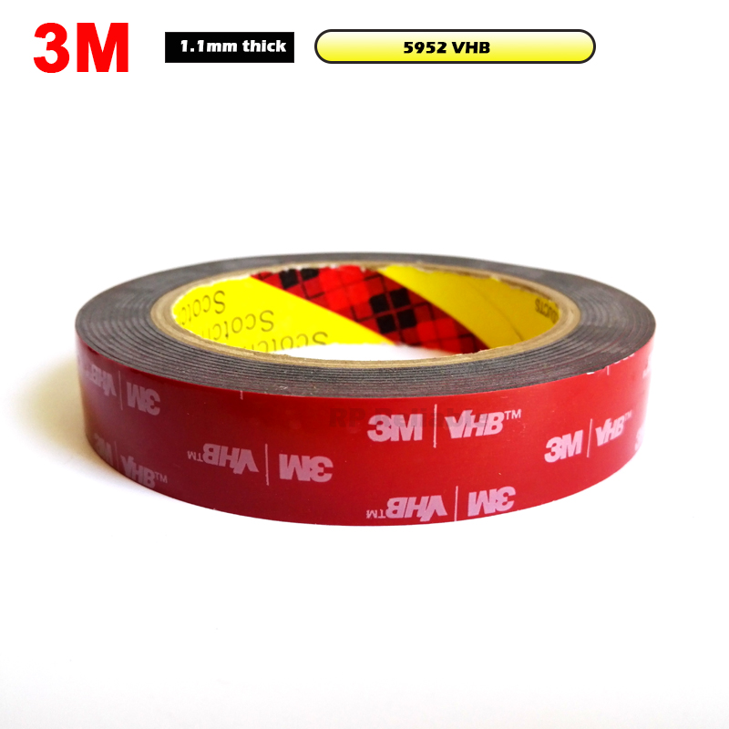 3M VHB 5952 Black Heavy Duty Mounting Tape Double Sided Adhesive Acrylic Foam Tape 20mmx3Mx1.1mm Decorative Stiffener Panel 1piece 3m vhb 5952 heavy duty double sided adhesive acrylic foam tape black 150mmx100mmx1 1mm