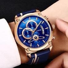 LIGE New Men's Watch Chronograph Analog Quartz Watch Date Creative Dial Blue Lea