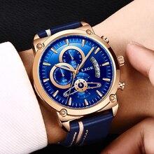 LIGE New Men's Watch Chronograph Analog Quartz Watch Date Creative Dial Blue Leather Strap Waterproof Wrists Watch Reloj Hombre цена 2017