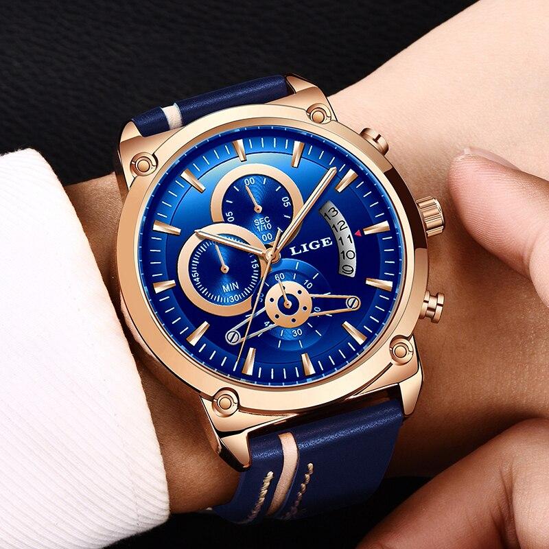LIGE Novo Relógio Cronógrafo dos homens Analógico Quartz Watch Data Pulsos Criativo Mostrador Azul Pulseira de Couro À Prova D' Água Assista Reloj Hombre