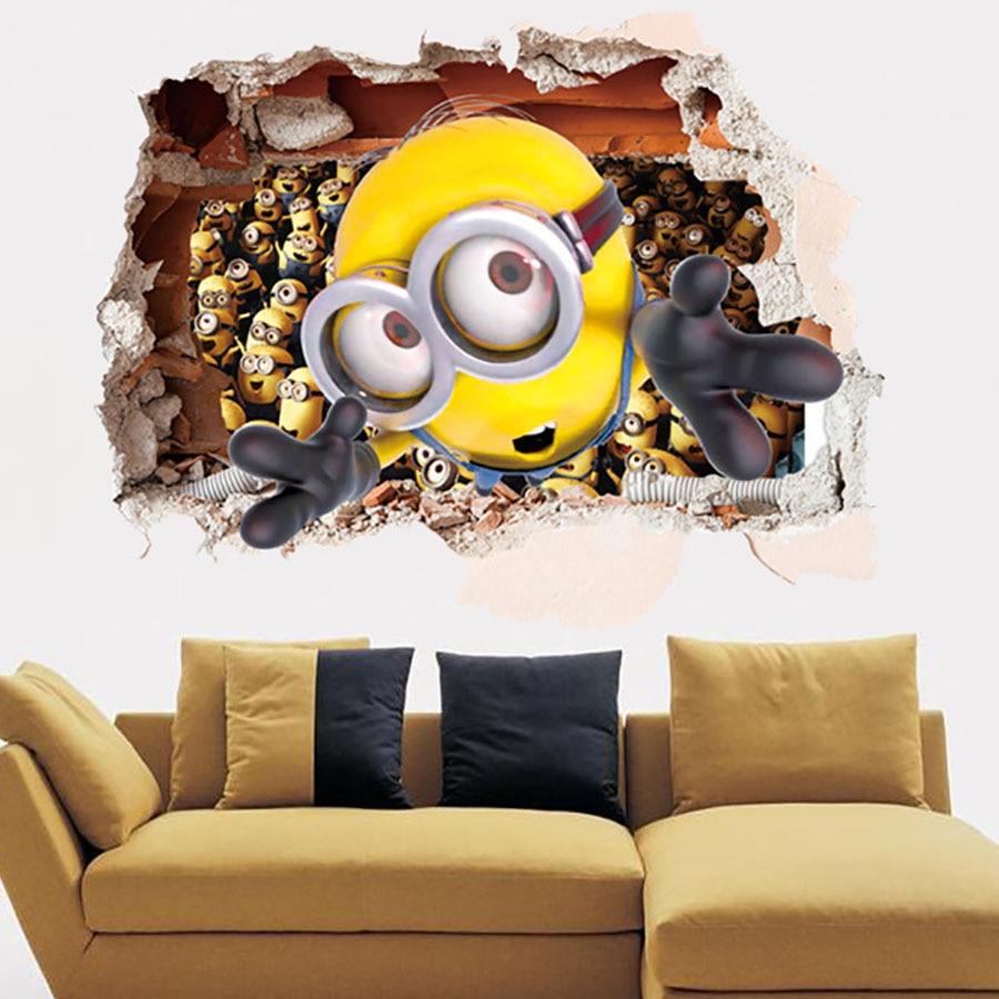 El tama o medio de efecto 3d de la pared rota palo de la historieta minions hombrecito naranja - Minions wandtattoo ...