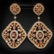 J store Luxury gold Colors Cubic Zirconia Big Drop Earrings High Quality Women CZ oorbellen Party Costume Jewelry E10004