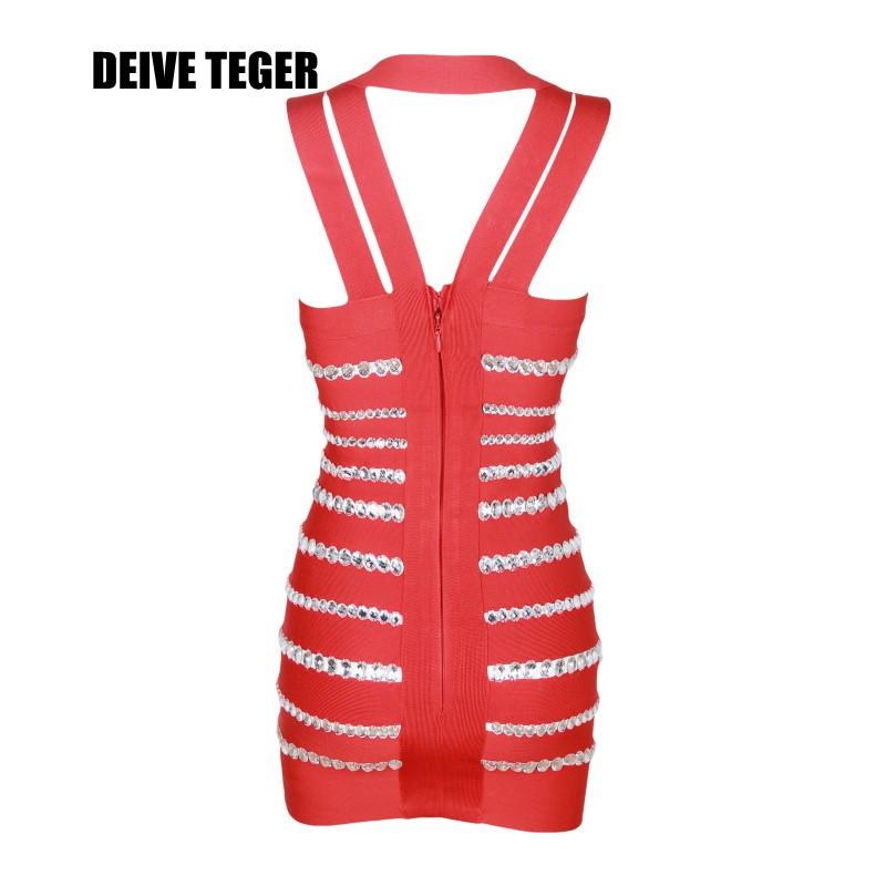 deive тегер новых женщин probation к кровью кристалл повязки с V-ожерелье платье hl131 5 цвет