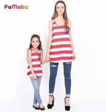 PaMaBa 4th de Julio de mamá y yo vestidos de tanque ropa juego madre hija juego bandera americana vestidos Maxi rojo y blanco camisa azul