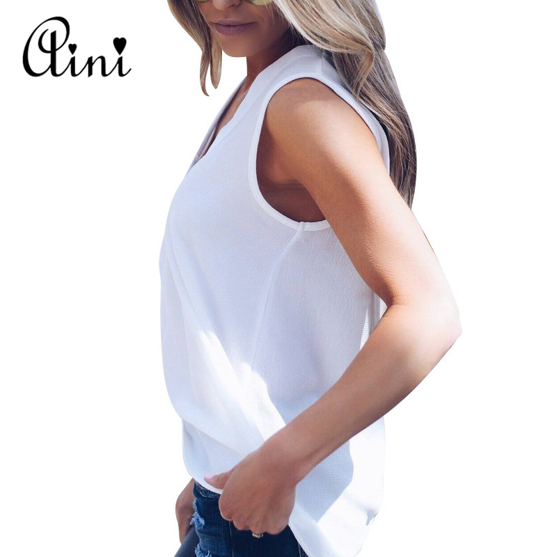 Plus Size 5XL Women Blouse and Tops Summer Top Casual Loose Sleeveless Solid V-neck Chiffon Blouses Female Shirts Vest Blusa 1