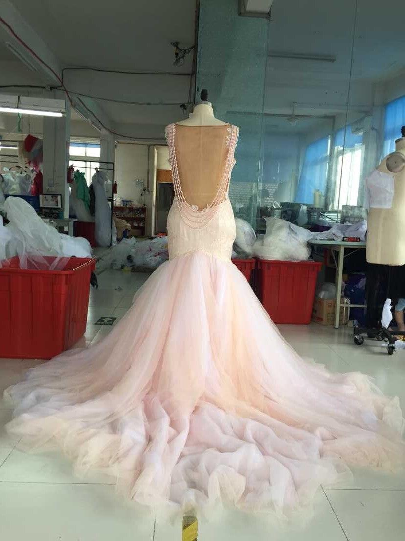 Real photos blush colored mermaid wedding dress 2016 for Low cut back wedding dress