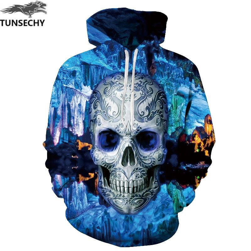 TUNSECHY Hot hoody Blue 3D Skull Hoodies Men Women Fashion Winter Spring Sportswear Hip Hop Tracksuit Brand Hooded Sweatshirt