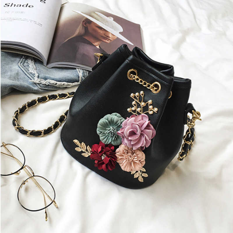 2018 hot Fashion and good quality New Women s Bag Pure Color Bucket Bag  Flowers Small Fresh ff275edf1147