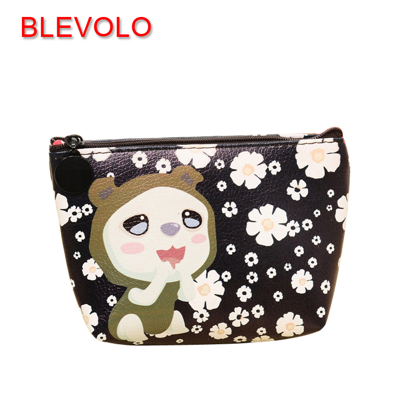 BLEVOLO Cute Cartoon PU Leather Women Coin Purse Animal Pattern Zipper Girl Wallet Children Change Purses Key Pouch Coin Bag