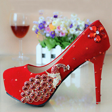 Fashion Women Crystal Applique Rhinestone Beads Red Wedding Party Shoes Lady High Heel Shoes