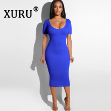 XURU Summer New Sexy Womens Dress Halter Openwork Pleated Fashion Hot Sale White Blue Black Burgundy