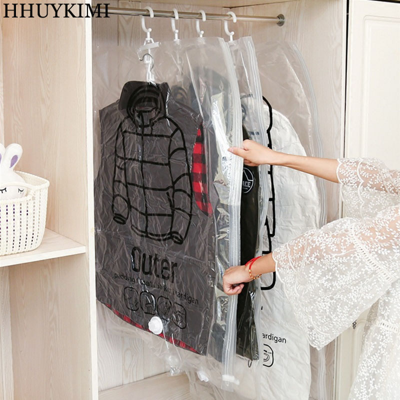 HHYUKIMI Can Hang Vacuun Bag For Clothes Foldable Transparent Border Compression Organizr Pouch Sealed Bags To Save Space