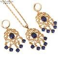 Royal style Collares y Colgantes Pendientes de Gota de oro plateado joyería de la Boda establece Azul Cristalino de La Manera jewelry JS200