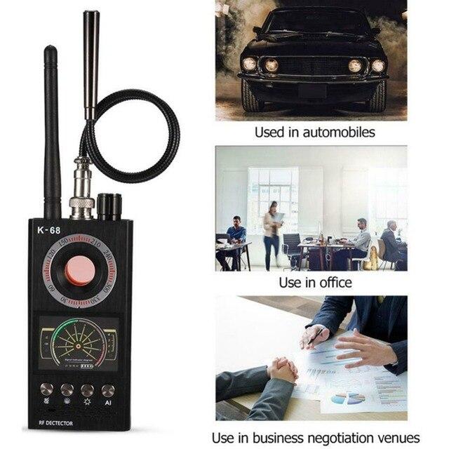 K68 רב פונקציה אנטי ריגול גלאי מצלמה GSM אודיו באג Finder GPS אות עדשת RF גשש לייזר אור חריר מצלמה Finder