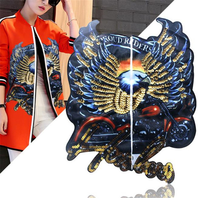 fddaa277fb Aliexpress.com : Buy T shirt Women patch sequins 365mm fighting eagle deal  with it biker patches for clothing stickers 3d t shirt mens free shipping  ...