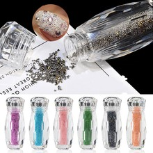 1 Bottle Mini Caviar Beads Crystal Tiny Glass Micro 17 Colors For Nails DIY 3D Glitter Nail Art Decorations