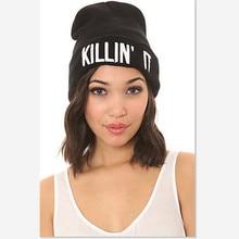 New KILLIN IT Hiphop Letter Hats For Women Cap Men Warm Knitting Wool Winter Hat Skullies Beanies Hat