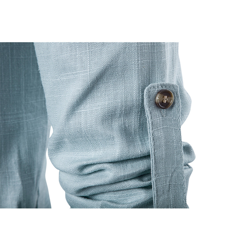 Image 3 - 2019 Мужская Повседневная рубашка с длинным рукавом, рубашки с воротником стойкой, одноцветная Традиционная рубашка в китайском стиле, хлопковая Смешанная рубашка размера плюс-in Повседневные рубашки from Мужская одежда