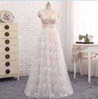 Sleveless V Neck Ivory Evening Dress Formal Lace Abiye Uzun Elbise A Line Robes De Soiree