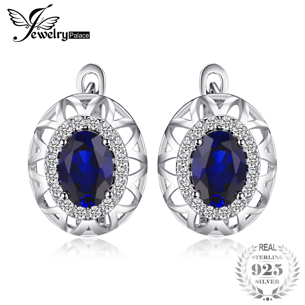 JewelryPalace 2.4ct Created Sapphire Unique Design Clip On Earrings For Women 925 Sterling Silver Elegant Fine Jewelry
