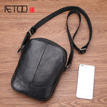 цены AETOO Leather shoulder bag men casual fashion tide mini diagonal cross head layer leather men's small bag