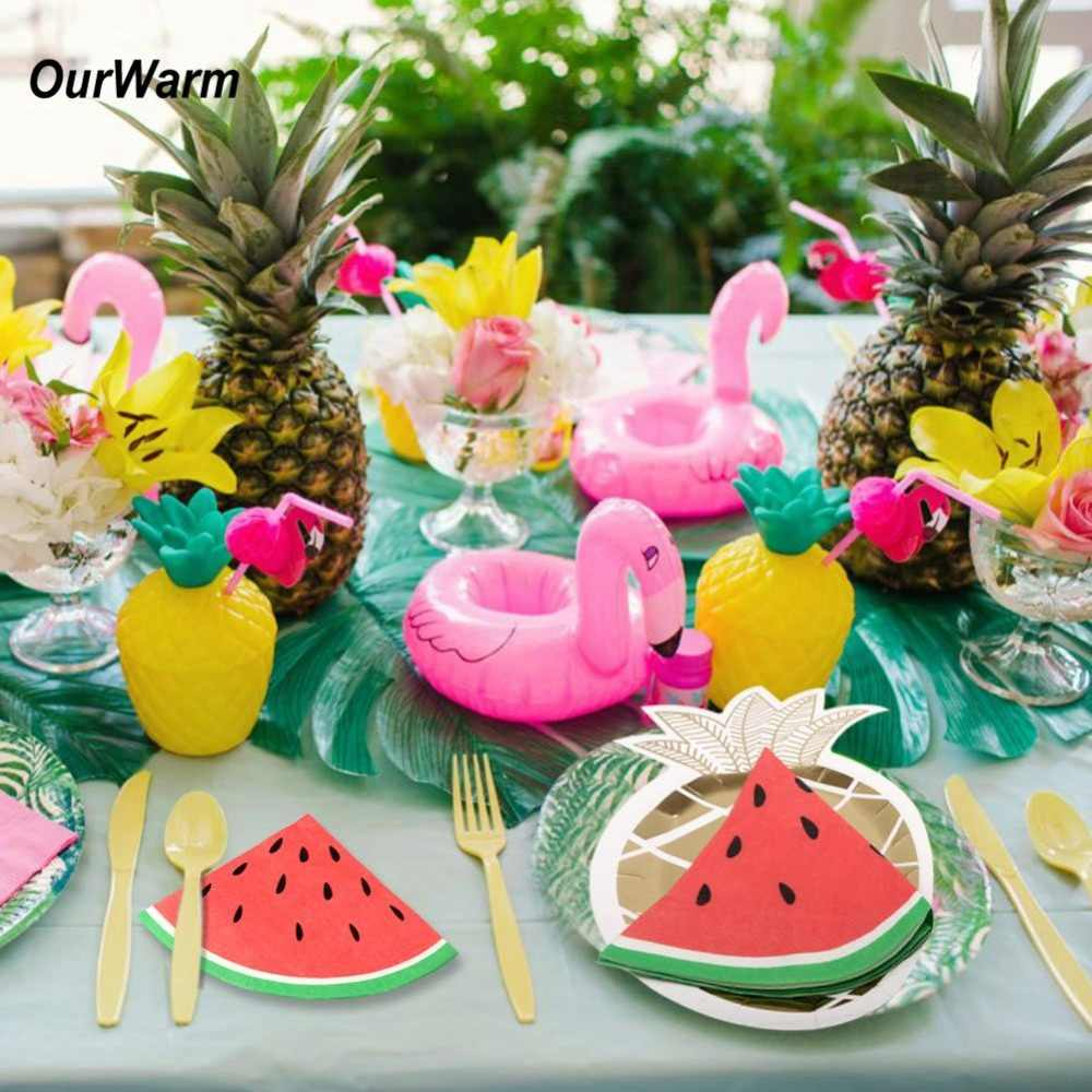 OurWarm Hawaiian Flamingo Theme Birthday Party Disposable Tableware Paper Pineapple Party Plates and Napkins  Flamingo Straws