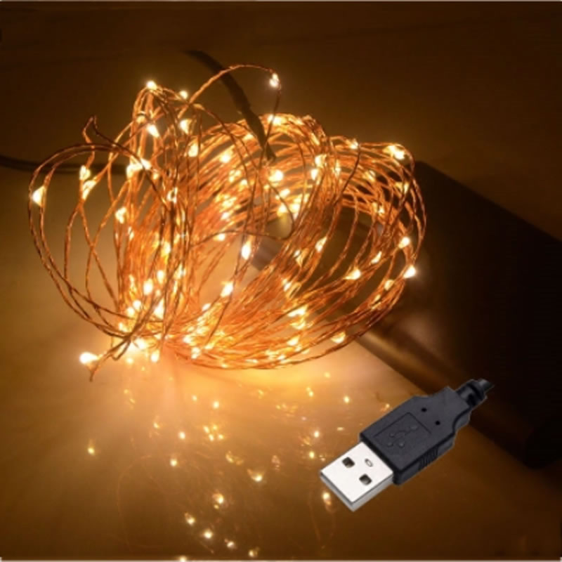 SPLEVIS USB Powered 33FT 10N 100 LED String Copper Wire Fairy Lights Xmas Party Fairy Decor Lamp