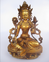 Высокая 12 дюймов под старину Скульптура, коллекционные Старый тибетский латунь статуя Будды f0002