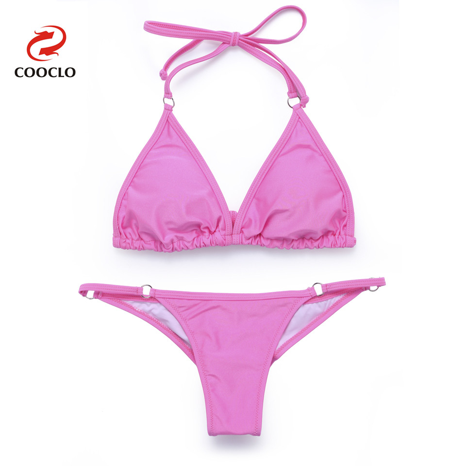 COOCLO Bikini 2019 Soft Cup Women Swimwear Brazilian Biquini Sexy Bikinis Set retro Solid Straps Swimsuit Bathing Suit Beachwear