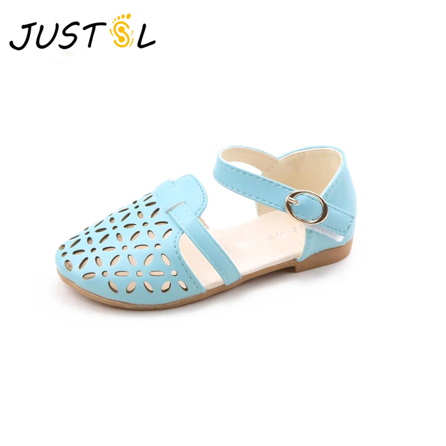 9d5a283f6d3ea6 JUSTSL summer new fashion girls sandals princess flat heel shoes hollow breathable  sandals for kids Explosion models 2017