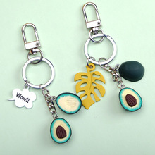 New Simulation Fruit Keyring Avocado Heart-shaped Keychain Fashion Jewelry Gift For Women Girl Cute Key Chain