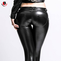 Woman High Elastic Low Waist Trousers Pu Leather Pants Shaping Sexy Hip Freddy Fitness Pencil Pants