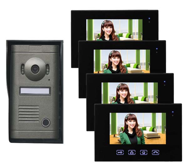 2016 New Arrival Touch key 7inch wired video door phone, HD waterproof camera, night vision 1 camer+4 monitor