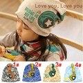 Hot Venda Nova 2017 Primavera Baby Kid Infantil Sanded Cotton Headset Impressão Cap Crianças Beanie Chapéus Auscultadores Acessórios do Miúdo