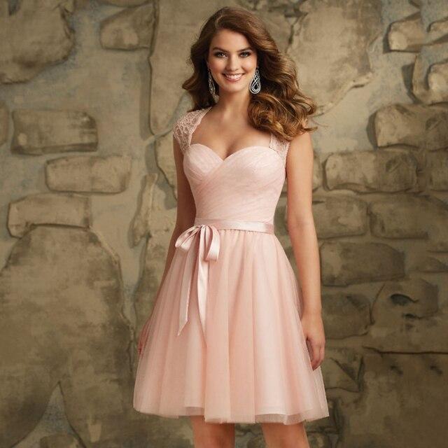 Cap Sleeves Lace Belt Plus Size Knee Length Bridesmaid Dresses Blush Pink 2016  Robe De Demoiselle D honneur Adulte Tulle 3071bc359121