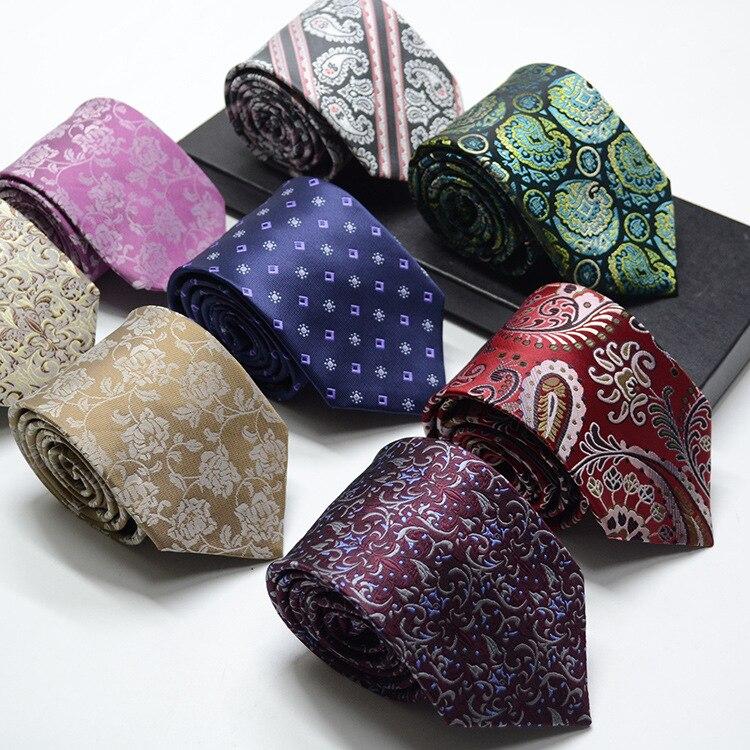 1200 Needles 8cm Mens Ties New Man Fashion Flower Neckties Corbatas Gravata Jacquard Slim Tie Business Red Tie For Men Necktie