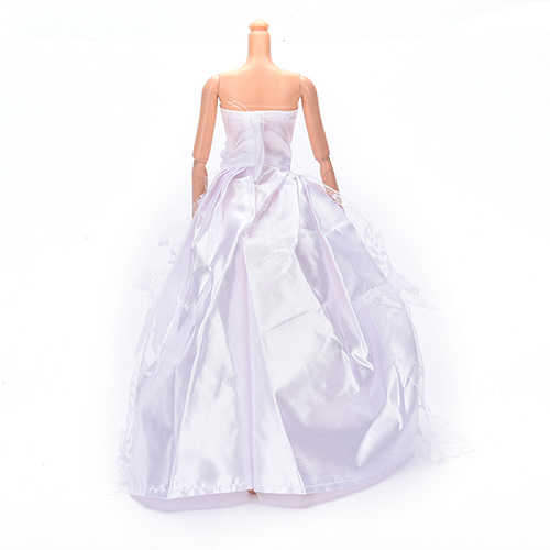 Fashion  beautiful White Doll Princess Dress Wedding Dress Party Gown Lace Dress For Barbie Accessories Girl Doll Dress Toy