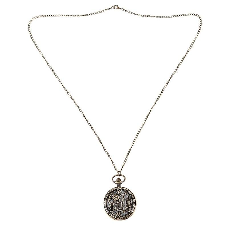 Vintage Butterfly Plum Blossoms Quartz Girl Fashion Pendant Sweater Chain Bronze Pocket Watch