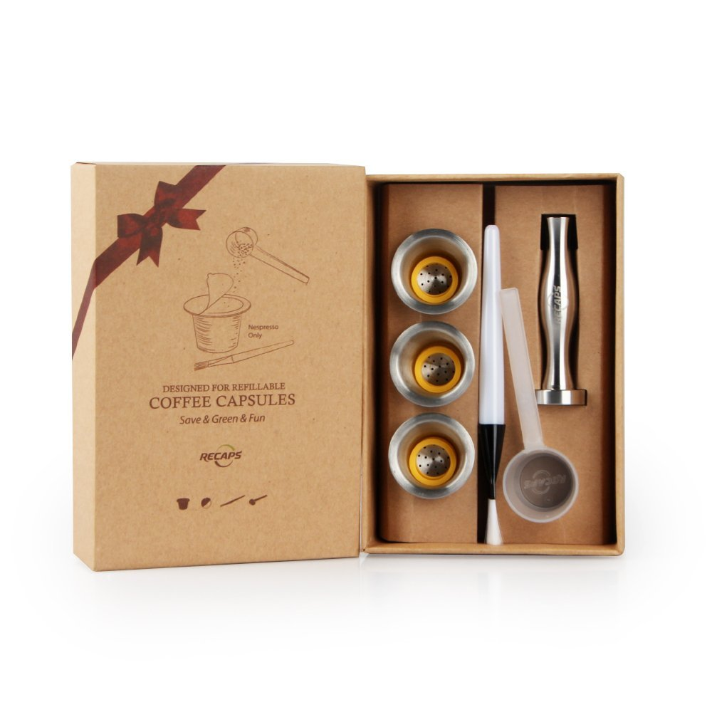 Recaps Stainless Steel Refillable <font><b>Coffee</b></font> Capsules Reusable Pods for Nespresso Machines (OriginalLine Compatible)