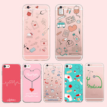 Doctor Nurse Heart Beat Phone Case Coque for iPhone 6 7 5S 6plus for Samsung Soft Silicone Clear Transparent TPU Back Cover