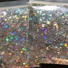 10 г/пакет серебристо-золотой голографический блеск 3 мм микро звезда/бабочка форма микс акриловый лазер блеск для украшения ногтей LS2356