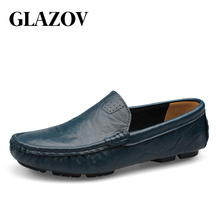 GLAZOV High Quality Genuine Leather Men Shoes Soft Moccasins Loafers Fashion Brand Men Flats Comfy Driving Shoes Big Size 36~50