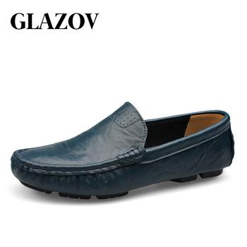 GLAZOV wysokiej jakości oryginalne skórzane buty męskie mokasyny miękkie mokasyny moda męskie markowe buty na płaskim obcasie wygodne buty do jazdy samochodem duży rozmiar 36 ~ 50 tanie i dobre opinie Prawdziwej skóry Skóra bydlęca RUBBER 4080 Slip-on Pasuje prawda na wymiar weź swój normalny rozmiar Stałe Dla dorosłych