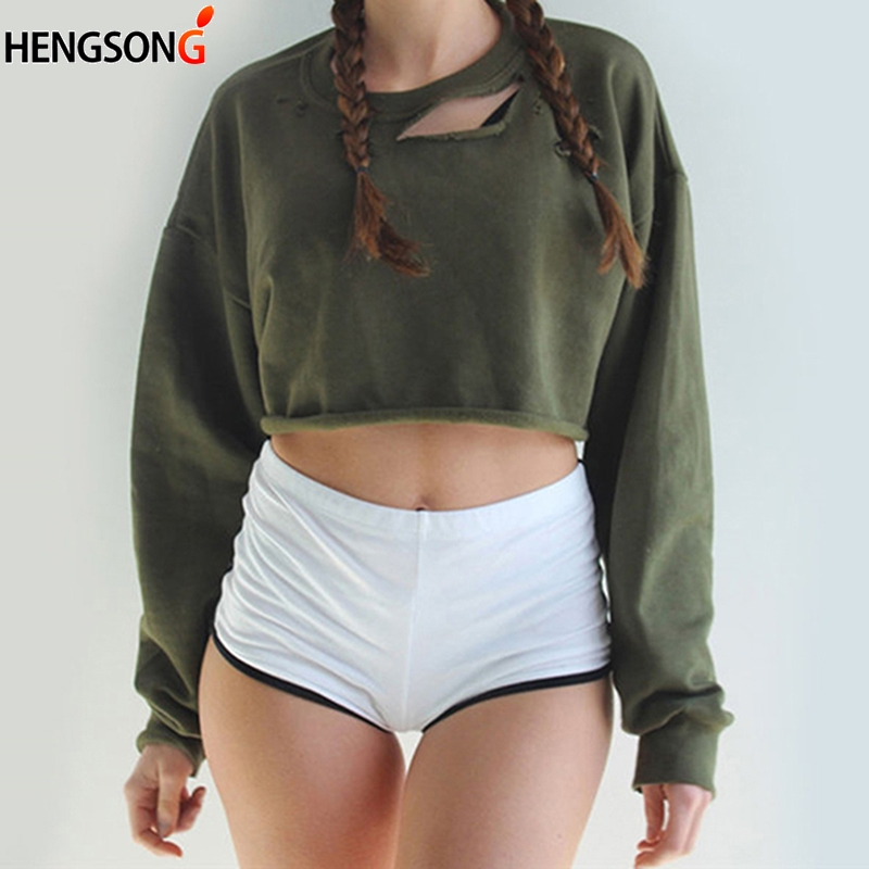 Spring Autumn New Hole Hoodies Loose Tops Women Girls Short Sweatshirts Long Sleeve Crop Jumper Pullover Top For Women