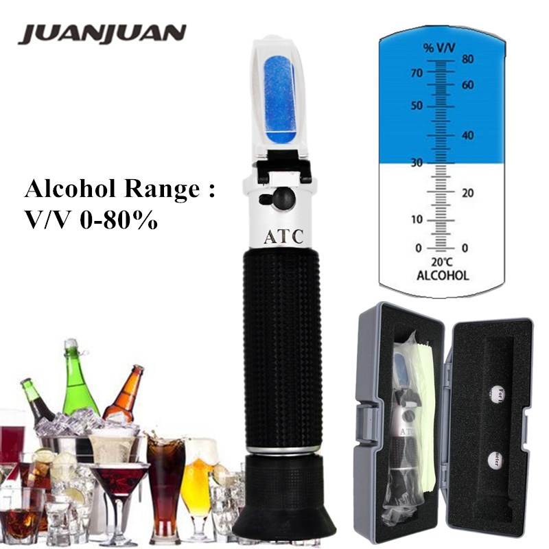 Retail Box Liquor Tester Refractometer Wine Concentration Detector 0-80% Alcohol Meter Oenometer 48% Off
