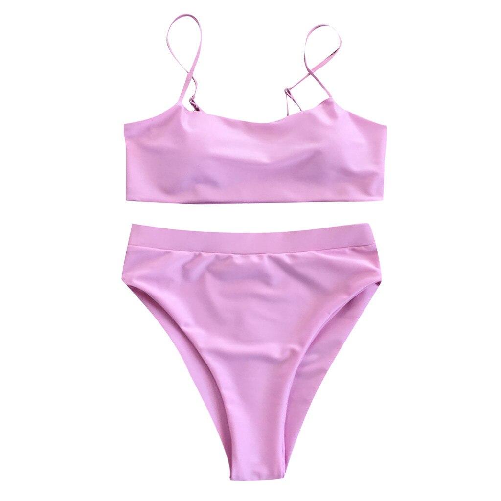 Сексуальный комплект бикини, женский купальник,, пуш-ап, с подкладкой, бандо, Бразильская пляжная одежда, бикини, купальник для женщин, пляжная одежда, купальный костюм - Цвет: Розовый