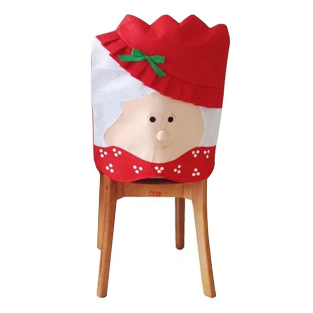10pcs Christmas Decoration New Year Supplies Mr Mrs Santa Claus Kitchen Dinner Chairs Banquet Chair Cover