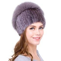 JKP Новая русская меховая шапка из натуральной норки для женщин зимняя норковая вязаная шапка с лисьим мехом DHY18-14