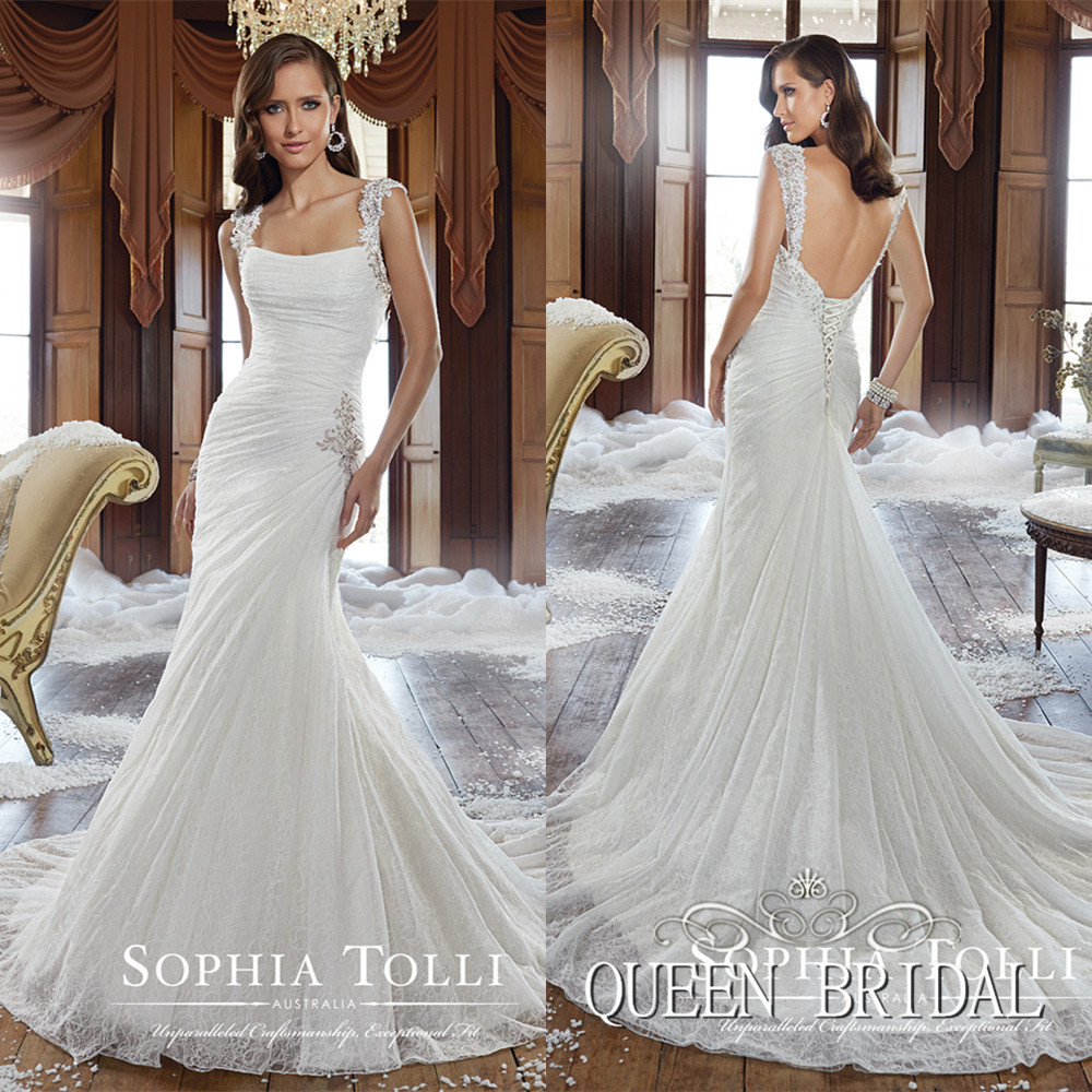 low back wedding dress Low back spaghetti strap wedding dress Claire Pettibone